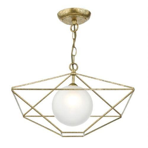Orsini 1 Light Pendant Antique Gold complete with Glass Shade (Double Insulated) BXORS0135-17